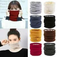 Unisex Winter Knitted Neck Warmer Circle Wrap Woolen Yarn Cowl Loop Snood Scarf