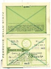 TESSERA - Carta di Circolazione FERROVIE DELLO STATO 1928