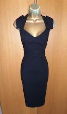 Classic Hobbs Black Tailored Wool Pencil Dress UK 12 40 Work Office Midi Busines