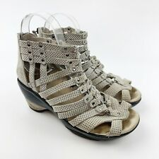 Jambu Womens Sugar Polka Dot Taupe Leather Gladiator Open Toe Wedge Sandals 7.5