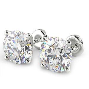2 Ct Round Cut VS1/F Diamond Stud Earrings 14K White Gold