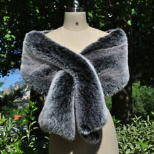 New Women Faux Fur Shrug Cape Wedding Bridal Shawl Winter Poncho Coat Outerwear