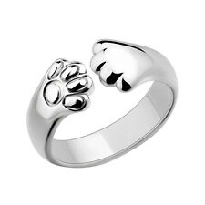 Women Cat Paw Claw Open Ring Silver Plated Finger Ring Animal Jewelry Gift ,t