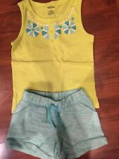 4 5 T Gap Kids Gymboree 2pc Green tank top aqua shorts outfit girl Nwt
