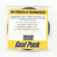 2018-19 Mattias Janmark Dallas Stars Game-Used Goal-Scored Puck -Lindell Ast.