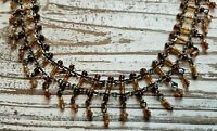 VINTAGE Brown Tan Glass Small Beads Fringe Dangle Kundan Beaded Choker Necklace