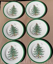 "Spode Christmas Tree 6"" Porcelain Bread & Butter Plates Green Trim Set of 6 New"