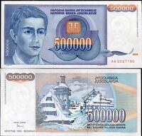 YUGOSLAVIA 500,000 500000 DINARA 1993 P 119 AUNC ABOUT UNC