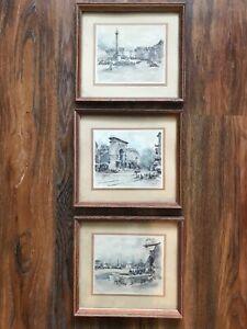 VTG Set Of 3 European City Water Color Sketch Paintings WOOD FRAMES
