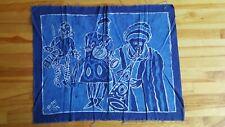 "Batik Signed Yemi Fabric Panel 24"" x 31"" Blues Ethnic Musicians Wall Garment"