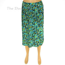 DANA BUCHMAN Womens X-LARGE MULTI-COLOR SKIRT Island Leaf & Floral PRINT Pleated