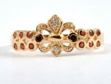 R132 Genuine 9ct Solid Gold NATURAL Garnet & Diamond Fleur-De-lise Ring size N