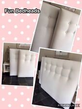 FUN BEDHEADS  Double Size White Button Upholstered Bedhead