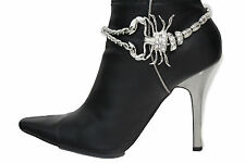 Women Western Boot Bracelet Silver Metal Chains Bling Anklet Shoe Charm Scorpion
