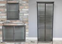 Metal Glass Cabinet Wall Hanging Freestanding Shelving Display Storage Cupboard