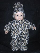"""Cream Leopard Sleeper Hat 15"""" Doll Clothes Handmade2Fit American Girl Bitty Baby"""