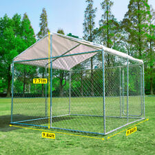 10'x10' Outdoor Steel Dog Cage Xxl Pet Kennel House w/ Cover Puppy Playpen Yard