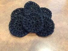 Scrubbies pot scrubber nylon set of 5 handmade by me  in the USA crochet BLACK
