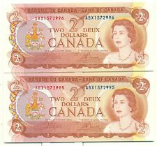 Crow Bouey Choice UNC Pair 1974 $2 Bank of Canada ABX1572995/6
