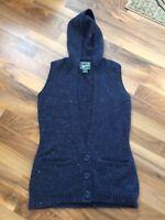 Woolrich Women's Long Sweater Vest Size Small Blue Flecked Hooded Wool Blend