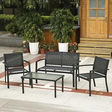 iKayaa 4PCS Patio Table Chairs Sofa Set Outdoor Garden Pool Side Furniture O0A9