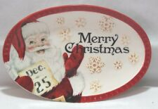 Fitz & Floyd Letters to Santa  Red & White Christmas Sentiment Tray Plate New