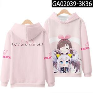 YouTube Kizuna AI Men's Hoodies Long sleeve Sweatshirts Unisex Coat Thin Tops-y2
