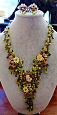 GORGEOUS Signed COLLEEN TOLAND green yellow LAVENDER Flower Necklace & Earrings