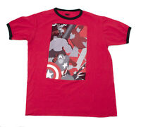 EUC Marvel Hero's Iron Man Hulk Captain America Red T Shirt