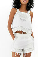 BLANK NYC Womens Embroidered Sleeveless Denim Fringe Cami Crop Top White Size M