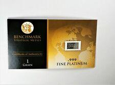 PLATINUM Pure .9995 PLATINUM approx.1/15 of a gram INVESTMENT BULLION BAR B22