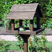 Premium wooden bird table garden birds feeder feeding station free standing