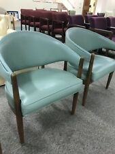 Mid Century Teal Arm Chairs Office Furniture Three pc lot