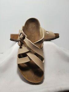 BIRKIS by Birkenstock 39 Narrow Beige Striped Sandals Shoe