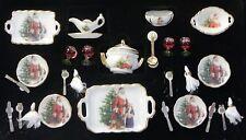 Dollhouse Miniature Dishes Tea Set Santa 27 pcs  Reutter Porcelain Minis 1:12