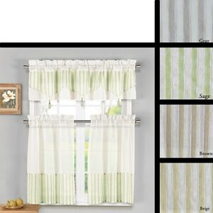 3 Piece Sheer Kitchen Window Curtain Set 1 Valance and 2 Tier Panel Curtains