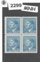 MNH Stamp block 2.00KR 1942 Third Reich / Adolph Hitler / WWII German Occupation