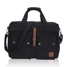 Men 17'' Laptop Canvas Briefcase Messenger Bag Work Carrying Multi-Pocket Bags