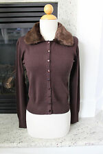 Voodoo Vixen NWT  Faux Fur Collar PinUp Rockabilly Brown Cardigan Sweater S