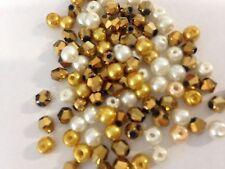 100 austríaco Cristal Cristal Cuentas Bicónicas Y Perlas-Oro/Metálico Mix - 4mm