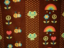 "Rainbow Hearts Frogs Bees Flowers Peace Signs Fleece Fabric 1 7/8 Yards 58"" W"