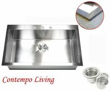 "36"" Square Single Bowl Zero Radius Topmount Drop In Stainless steel Kitchen Sink"