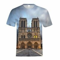 Amazing Art Notre Dame de Paris Cathedral T-shirt Men's All-over Shirt Casual