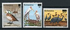 Botswana 1987 MNH Birds Surcharged OVPT Goose Stork Guineafowl 3v Set Stamps