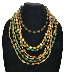 Lot of 5 Multi Color Recycled Paper Bead Strand Necklaces