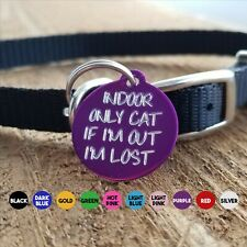 INDOOR ONLY CAT LOST PET TAG CAT CIRCLE CUSTOM DIAMOND ENGRAVED ON BACK
