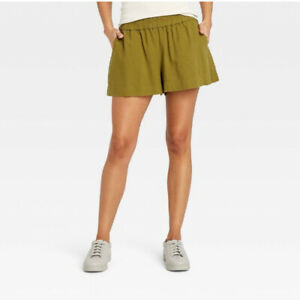 A New Day S Olive Green High-Rise Pull-On Shorts