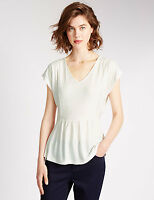 Per Una Ivory Textured Peplum Top / Blouse 14/16/18 RRP £22.50
