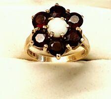 GRANDE Vintage 9CT GOLD DRESS Anello Opale & Granato Misura N completamente marchiato