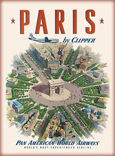 Paris France French Arc de Triomphe Vintage Airline Travel Advertisement Poster